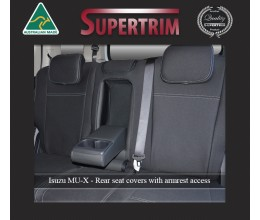 2nd Row Seat Covers Full-back + Armrest Access, Snug Fit for Isuzu MU-X (Nov 2013 - Now), Premium Neoprene (Automotive-Grade) 100% Waterproof