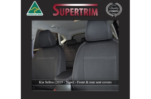 KIA Seltos (2019-Now) SEAT COVERS - FRONT & REAR, BLACK Waterproof Neoprene (Wetsuit), UV Treated