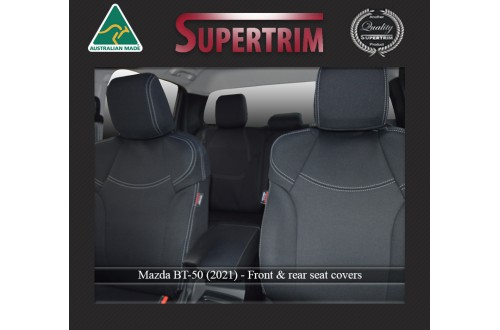 FRONT Seat Covers Full-back with Map Pockets & Rear Snug Fit for MAZDA BT-50 TF (2021-Now), Premium Neoprene (Automotive-Grade) 100% Waterproof