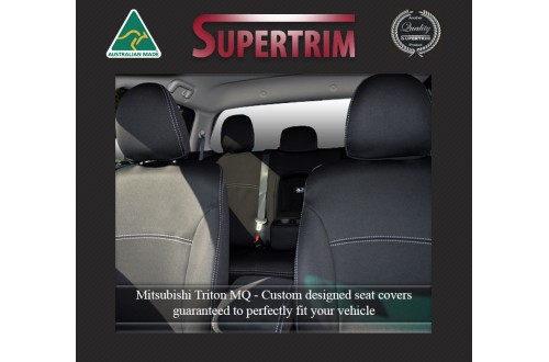 Seat Covers Front 2 Bucket Seats + Console Lid Cover Snug Fit for Triton MQ (May 2015-Now) , Premium Neoprene (Automotive-Grade) 100% Waterproof