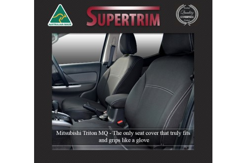 Seat Covers FRONT 2 Bucket Seats Snug Fit, for Triton MQ (May 2015-Now) Extra Cab (Club Cab), Premium Neoprene (Automotive-Grade) 100% Waterproof