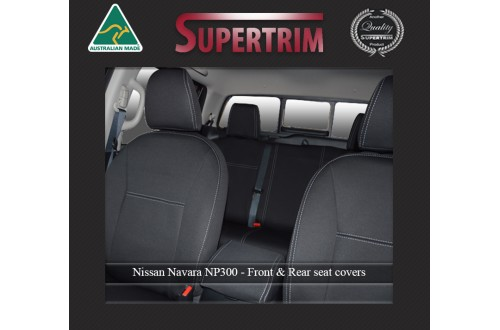 Seat Covers FRONT Seat Covers + Console Lid Cover Snug Fit for Nissan Navara NP300 (May 2015 - Now) Premium Neoprene (Automotive-Grade) 100% Waterproof