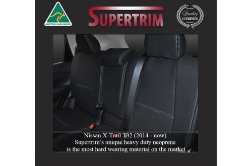 Nissan X-Trail T32 REAR Full-back Seat Covers + Armrest Cover Custom Fit (2014-Now), Premium Neoprene, Waterproof | Supertrim