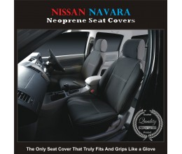 Nissan Navara D22 D40 550 ST STX RX TAILOR-MADE Seat Covers (NEW: 2017 model available) - FRONT PAIR 100% Perfect fit, Charcoal black, 100% Waterproof Premium quality Neoprene (Wetsuit), UV Treated