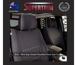FRONT Seat Covers Full-back with Map Pockets & Rear with Armrest Access Snug Fit for Grand Cherokee WK 2011 - Now, Premium Neoprene (Automotive-Grade) 100% Waterproof