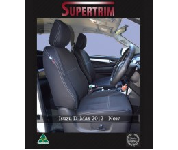 FRONT Seat Covers Full-back with Map Pockets & Rear with Armrest Access Snug Fit for Isuzu D-Max (May 2012 - Now), Premium Neoprene (Automotive-Grade) 100% Waterproof