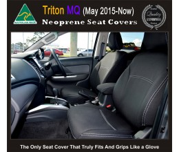 Mitsubishi Triton Series MQ TAILOR-MADE Seat Covers - FRONT PAIR in Full Back + Map Pockets 100% Perfect fit, Charcoal black, 100% Waterproof Premium quality Neoprene (Wetsuit), UV Treated