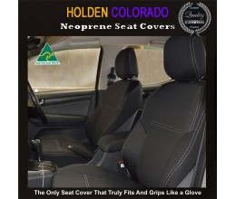 Holden Colorado RG (Apr 12 - Now) FRONT Seat Covers + CONSOLE LID Cover, Snug Fit, Premium Neoprene (Automotive-Grade) 100% Waterproof