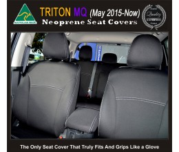 Seat Covers Front Pair Full-back With Map Pockets & Rear + Armrest Snug Fit for Triton MQ May 2015-Now, Premium Neoprene (Automotive-Grade) 100% Waterproof