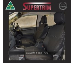 FRONT Seat Covers & REAR with Armrest Access Snug Fit for Isuzu MU-X (Nov 2013 - Now), Premium Neoprene (Automotive-Grade) 100% Waterproof