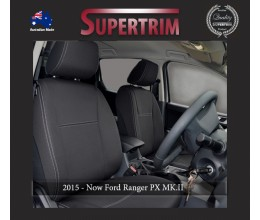 Ford Ranger PX MK.II, III (Sept 2015-18), PU 2019 FRONT Seat Covers + CONSOLE LID COVER, Snug Fit, Premium Neoprene (Automotive-Grade) 100% Waterproof