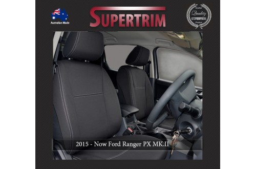 Ford Ranger PX MK.II, III (Sept 2015-18), PU 2019 FRONT + REAR Seat Covers With Armrest Access, Snug Fit, Premium Neoprene (Automotive-Grade) 100% Waterproof
