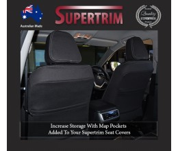 FRONT Seat Covers With Full-back + Map Pockets Snug Fit for Grand Cherokee WK 2011-Now , Premium Neoprene (Automotive-Grade) 100% Waterproof