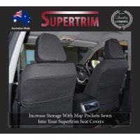 Seat Covers Front 2 Bucket Seats Full-back + Map Pockets Snug Fit for Triton MQ (May 2015-Now) , Premium Neoprene (Automotive-Grade) 100% Waterproof