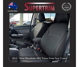 Seat Covers FRONT 2 Bucket Seats Snug Fit for Triton MQ (May 2015 - Now) Single Cab, Premium Neoprene (Automotive-Grade) 100% Waterproof