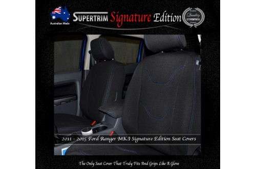 Ford Ranger PX MK.I (July 2011 - Aug 2015) FRONT Seat Covers + CONSOLE LID Cover, Signature Edition, Snug Fit, Premium Neoprene (Automotive-Grade) 100% Waterproof