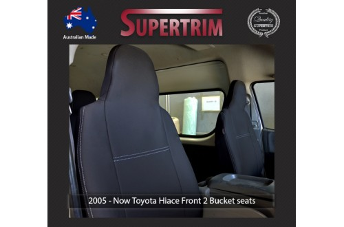 Seat Covers FRONT 2 BUCKET PAIR + CONSOLE LID COVER Snug Fit for Toyota Hiace (Mar 2005 - Now) H200 MK.5 (Van) Premium Neoprene (Automotive-Grade) 100% Waterproof