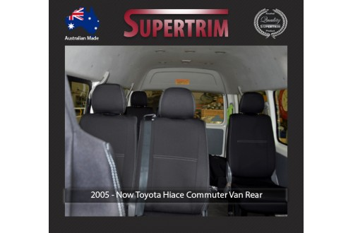 Seat Covers REAR 10 SEATS FULL BACK Snug Fit for Toyota Hiace (Mar 2005 - Now) H200 MK.5 (Commuter Bus 12 Seater) Premium Neoprene (Automotive-Grade) 100% Waterproof