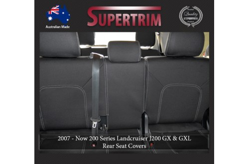 Seat Covers 2ND ROW FULL-BACK Snug Fit For (Nov07 - Now) Landcruiser J200 (200 Series) - GX & GXL, Premium Neoprene (Automotive-Grade) 100% Waterproof