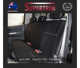 Seat Covers 2nd Row Snug Fit for Hilux MK.7 April 2005 - July 2011, Premium Neoprene (Automotive-Grade) 100% Waterproof