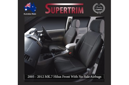 Seat Covers Front 2 Bucket Seats With No Side Airbags + Console Lid Cover Snug Fit for Hilux MK.7 April 2005 - July 2011, Premium Neoprene (Automotive-Grade) 100% Waterproof