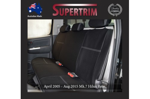 Seat Covers 2nd Row Snug Fit for Hilux MK.7 Aug 2009 - Aug 2015, Premium Neoprene (Automotive-Grade) 100% Waterproof