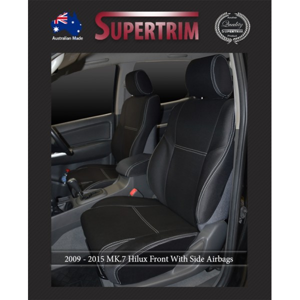 Surprising Seat Covers Front 2 Bucket Seats With Side Airbags Console Lid Cover Snug Fit For Hilux Mk 7 Aug 2009 Aug 2015 Premium Neoprene Dailytribune Chair Design For Home Dailytribuneorg