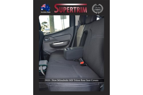 Seat Covers REAR + Armrest Access Snug Fit for Triton MR Triton (2019 - Now) Dual Cab, Premium Neoprene (Automotive-Grade) 100% Waterproof