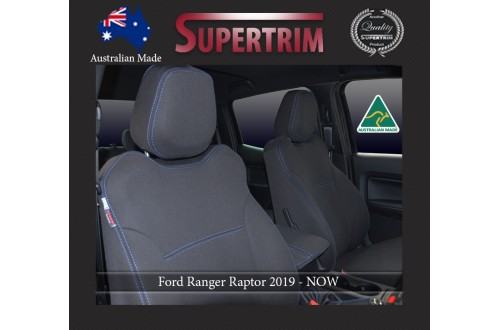 Ford Ranger Raptor (2019-Now), FRONT Full-Back Seat Covers with Map Pockets & REAR Seat Covers With Armrest Access, Snug Fit, Premium Neoprene (Automotive-Grade) 100% Waterproof