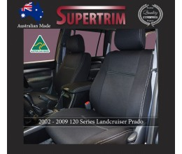 FRONT seat covers in FULL BACK + MAP POCKETS for Toyota Prado 90 series, Snug Fit, Premium Neoprene (Automotive-Grade) 100% Waterproof