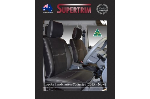 FRONT PAIR in Full Back + Map Pockets & REAR Seat Covers suitable for Toyota Landcruiser 70 - 79 Series Premium Neoprene (Automotive-Grade) 100% Waterproof