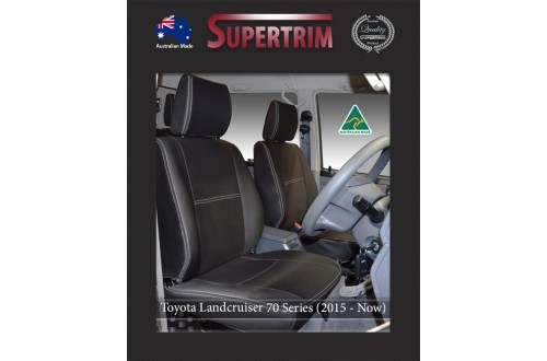 FRONT Seat Covers in Full Back + Map Pockets suitable for Toyota Landcruiser 70 - 79 Series Premium Neoprene (Automotive-Grade) 100% Waterproof