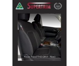 FRONT Seat Covers Full-Length with Map Pockets Custom Fit Nissan Patrol Y62 (2013-Now), Premium Neoprene | Supertrim