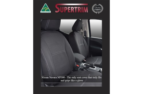 Seat Covers FRONT 2 Bucket Seats With Full-Back, Snug Fit for Nissan Navara NP300 May 2015 - Now, Premium Neoprene (Automotive-Grade) 100% Waterproof