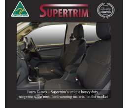 FRONT Seat Covers & Rear with Armrest Access Snug Fit for Isuzu D-Max (May 2012 - Now), Premium Neoprene (Automotive-Grade) 100% Waterproof
