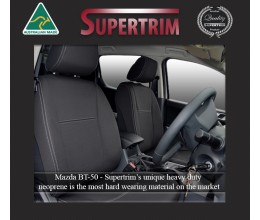Mazda BT-50 UR (2015-2020) FRONT + REAR With Armrest Access Seat Covers, Snug Fit, Premium Neoprene (Automotive-Grade) 100% Waterproof