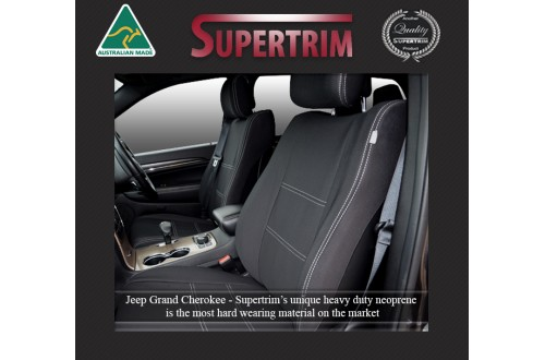 FRONT Seat Covers + Console Lid Cover, Snug Fit for Grand Cherokee WK 2011-Now, Premium Neoprene (Automotive-Grade) 100% Waterproof