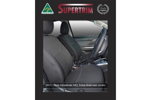 Seat Covers Front 2 Bucket Seats in Full-back, Snug Fit for Triton MQ (May 2015-Now) , Premium Neoprene (Automotive-Grade) 100% Waterproof