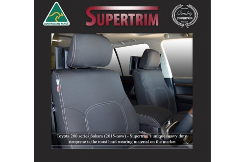 Seat Covers FRONT Pair FULL-BACK + MAP POCKETS & REAR FULL-BACK Snug Fit For (Oct 2015 - Now) Landcruiser J200 (200 Series) - MK.III Sahara, Premium Neoprene (Automotive-Grade) 100% Waterproof