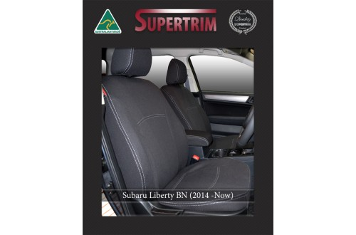 Subaru Liberty BN FRONT Full-back with Map Pockets & REAR Full-back with Armrest Cover for (2014-Now), Snug Fit, Premium Neoprene (Automotive-Grade) 100% Waterproof