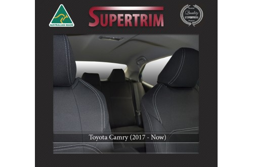 FRONT Seat Covers Full-Length With Map Pockets & Rear Full-length Custom Fit Toyota Camry (Nov 2017 - Now), Premium Neoprene, Waterproof | Supertrim