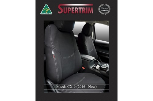 Mazda CX-9 FRONT Full-Length with Map Pockets & Rear Full-length Seat Covers Custom Fit (2016-Now), Premium Neoprene, Waterproof | Supertrim