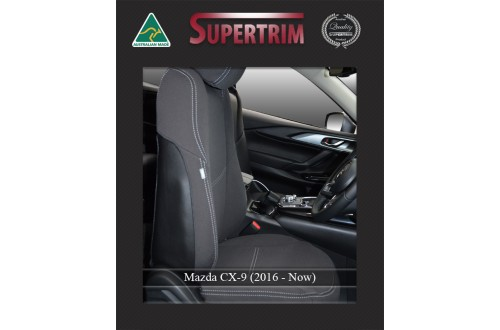 Mazda CX-9 FRONT Seat Covers Custom Fit (2016-Now), Premium Neoprene, Waterproof | Supertrim