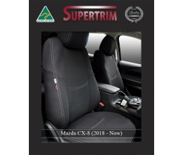 Mazda CX-8 FRONT Full-Length with Map Pockets & Rear Full-length Seat Covers Custom Fit (2018-Now), Premium Neoprene, Waterproof | Supertrim