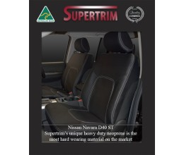 Seat Covers FRONT Pair + CONSOLE Lid Cover Snug Fit For Nissan Navara D40 (Nov 2005 - May 2015), Premium Neoprene (Automotive-Grade) 100% Waterproof