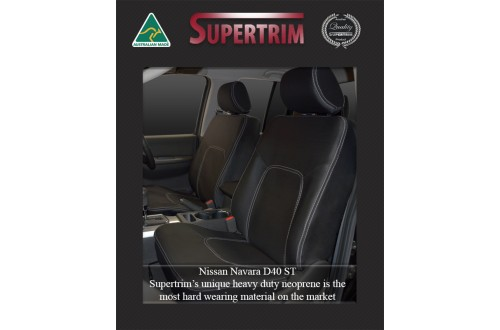 Seat Covers FRONT Pair With Full-Back, Snug Fit For Nissan Navara D40 (Nov 2005 - May 2015), Premium Neoprene (Automotive-Grade) 100% Waterproof
