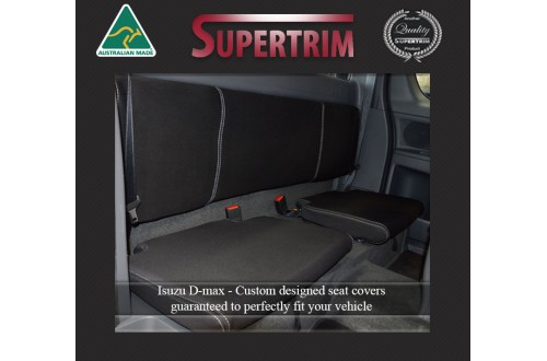 REAR Extra (Space) Cab Seat Covers Snug Fit for Isuzu D-Max RC (2012-2020), Premium Neoprene (Automotive-Grade) 100% Waterproof