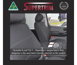 Seat Covers FRONT Bucket Bench With Full-Back & Map Pockets + Rear, Snug Fit for Hyundai iLoad TQ-V (Feb 2008 - Now)  , Premium Neoprene (Automotive-Grade) 100% Waterproof