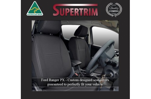 Ford Ranger PX MK.II (Sept 2015 - Now) FRONT Seat Covers + CONSOLE LID Cover, Signature Edition, Snug Fit, Premium Neoprene (Automotive-Grade) 100% Waterproof