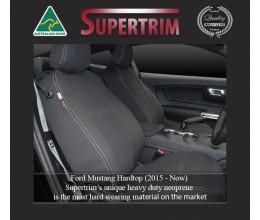 Ford Mustang Hardtop (2015-NOW), FRONT Full-Back Seat Covers with Map Pockets & REAR Seat Covers, Snug Fit, Premium Neoprene (Automotive-Grade) 100% Waterproof